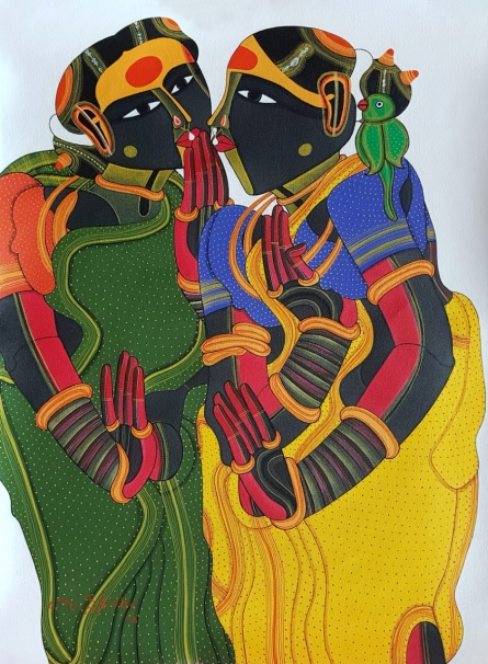 Figurative Acrylic Art Painting title 'Untitled 1' by artist Thota Vaikuntam