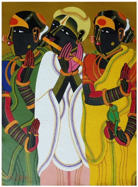 Thota Vaikuntam Paintings | Acrylic Painting - Untitled 17 by artist Thota Vaikuntam | ArtZolo.com