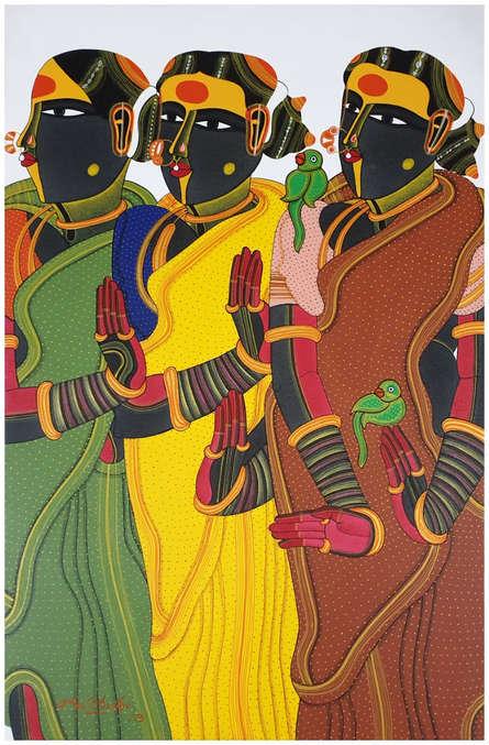 Figurative Acrylic Art Painting title 'Untitled 16' by artist Thota Vaikuntam