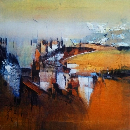 Abstract Acrylic Art Painting title 'Reflection' by artist Dnyaneshwar Dhavale