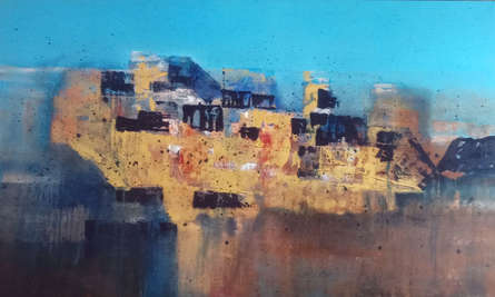 Abstract Acrylic Art Painting title An Evening In A Crowd by artist Dnyaneshwar Dhavale