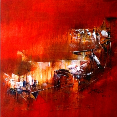 Abstract Acrylic Art Painting title 'Art Gallery Img Red 20x20 4 02' by artist Dnyaneshwar Dhavale