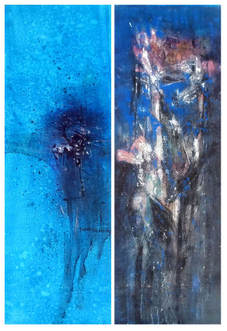 Abstract Acrylic Art Painting title Blue20 by artist Dnyaneshwar Dhavale