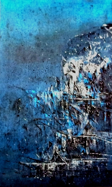 Abstract Acrylic Art Painting title 'Blue' by artist Dnyaneshwar Dhavale