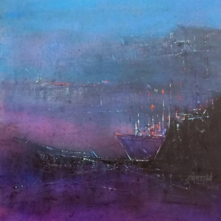 Abstract Acrylic Art Painting title 'Boat' by artist Dnyaneshwar Dhavale