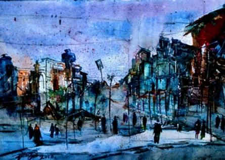 Dnyaneshwar Dhavale | Watercolor Painting title Dream City on paper | Artist Dnyaneshwar Dhavale Gallery | ArtZolo.com