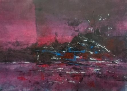 Abstract Acrylic Art Painting title 'Pink Evening 02' by artist Dnyaneshwar Dhavale