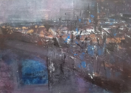 Abstract Acrylic Art Painting title 'Eventide03' by artist Dnyaneshwar Dhavale