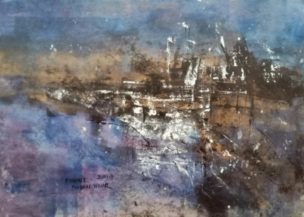 Abstract Acrylic Art Painting title 'Eventide 02' by artist Dnyaneshwar Dhavale