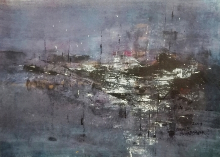 Abstract Acrylic Art Painting title 'Eventide 04' by artist Dnyaneshwar Dhavale
