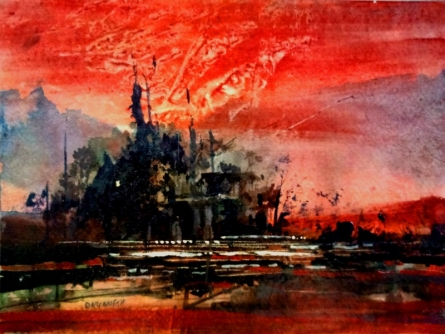 Dnyaneshwar Dhavale | Acrylic Painting title Good Eveing 7x10 In on canvas | Artist Dnyaneshwar Dhavale Gallery | ArtZolo.com