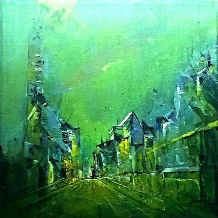 contemporary Acrylic Art Painting title Green City by artist Dnyaneshwar Dhavale