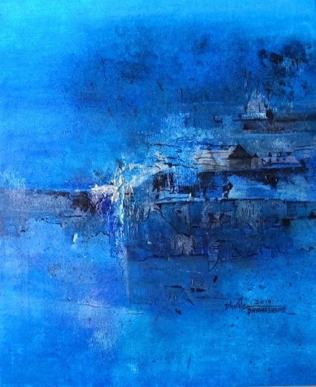 Abstract Acrylic Art Painting title 'BRILLIENT Blue' by artist Dnyaneshwar Dhavale