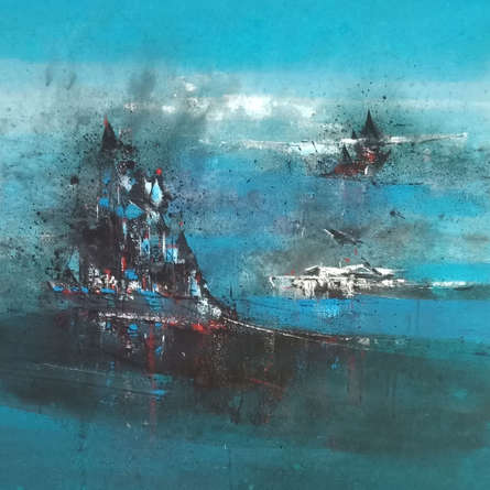 Abstract Acrylic Art Painting title Magical Evening by artist Dnyaneshwar Dhavale