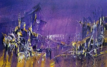 Abstract Acrylic Art Painting title 'Midnight City 25 02' by artist Dnyaneshwar Dhavale
