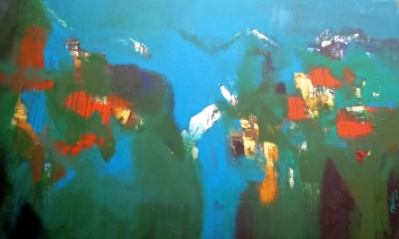 Abstract Acrylic Art Painting title 'Mountain Range 10' by artist Dnyaneshwar Dhavale