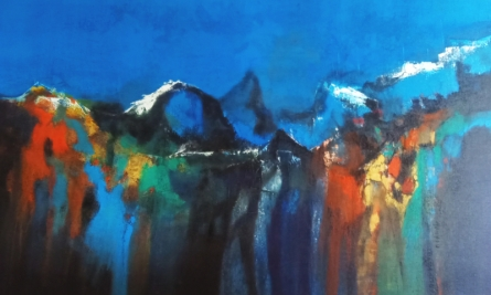 Abstract Acrylic Art Painting title 'Mountain Range 6' by artist Dnyaneshwar Dhavale