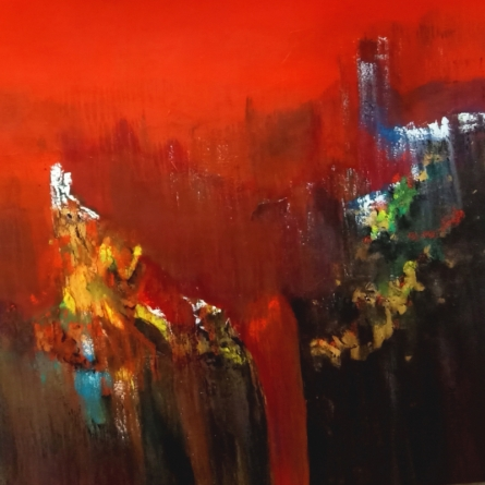 Abstract Acrylic Art Painting title 'Moutain Range 4' by artist Dnyaneshwar Dhavale