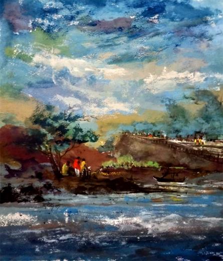 Landscape Watercolor Art Painting title 'Trip' by artist Dnyaneshwar Dhavale