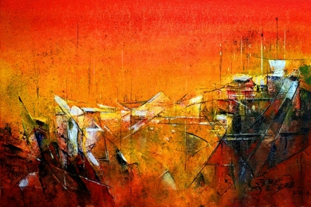 Abstract Acrylic Art Painting title Red IX by artist Dnyaneshwar Dhavale