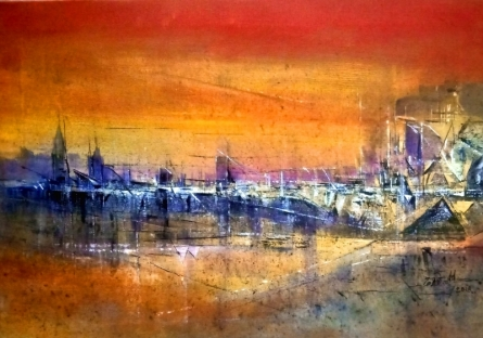 Abstract Acrylic Art Painting title 'Reflection 2' by artist Dnyaneshwar Dhavale