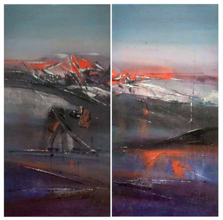Abstract Acrylic Art Painting title Seascap by artist Dnyaneshwar Dhavale