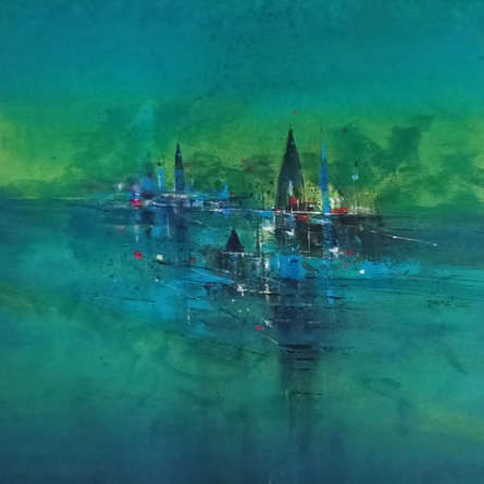 Abstract Acrylic Art Painting title Temple View by artist Dnyaneshwar Dhavale