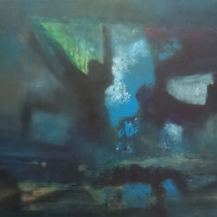 Abstract Acrylic Art Painting title 'The Darkness Of Night' by artist Dnyaneshwar Dhavale