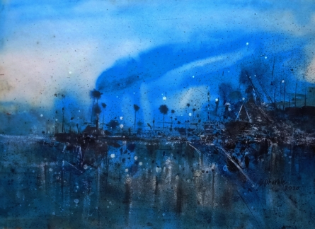 Abstract Acrylic Art Painting title 'The Port Of The Mornng' by artist Dnyaneshwar Dhavale