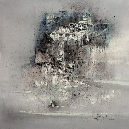 Abstract Acrylic Art Painting title 'Untitled B W 2' by artist Dnyaneshwar Dhavale