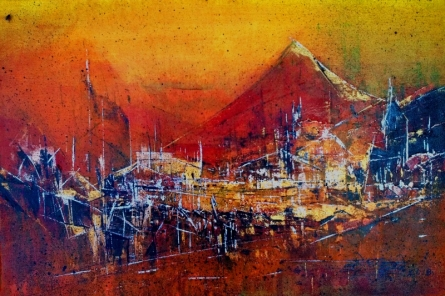 Abstract Acrylic Art Painting title Untitled 12x18 Copy by artist Dnyaneshwar Dhavale