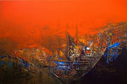 Abstract Acrylic Art Painting title 'Untitled 12x18' by artist Dnyaneshwar Dhavale