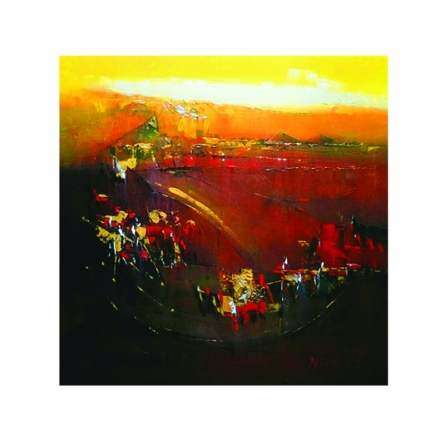 Abstract Acrylic Art Painting title 'Glowing yellow light' by artist Dnyaneshwar Dhavale