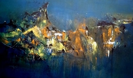 Abstract Acrylic Art Painting title 'Untitled 24 X 48 In' by artist Dnyaneshwar Dhavale