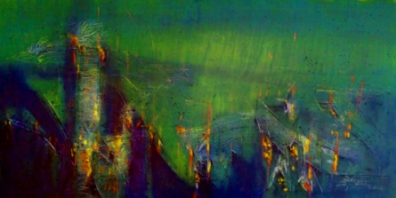 Abstract Acrylic Art Painting title Untitled 24 X 48 In 13 by artist Dnyaneshwar Dhavale