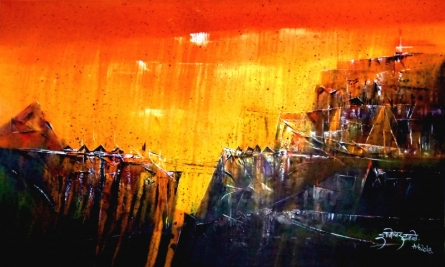 Abstract Acrylic Art Painting title 'Untitled 36 X 60 In Gallery Img' by artist Dnyaneshwar Dhavale