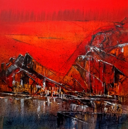 Abstract Acrylic Art Painting title 'Untitled Red 13' by artist Dnyaneshwar Dhavale