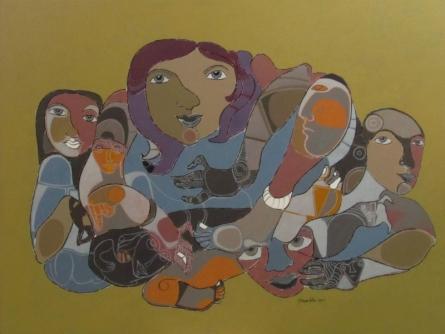 contemporary Acrylic Art Painting title '124' by artist Shambhu Prasad Reddy Kolli