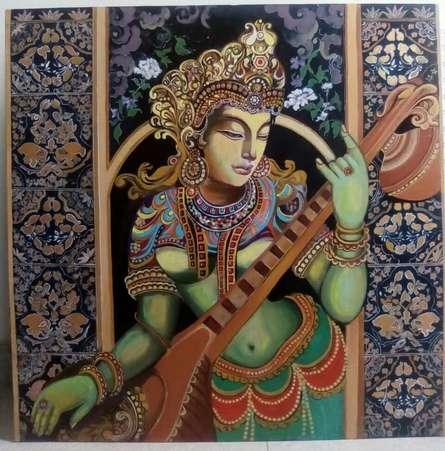 Religious Acrylic Art Painting title 'Devi' by artist Shilpa Kulshrestha