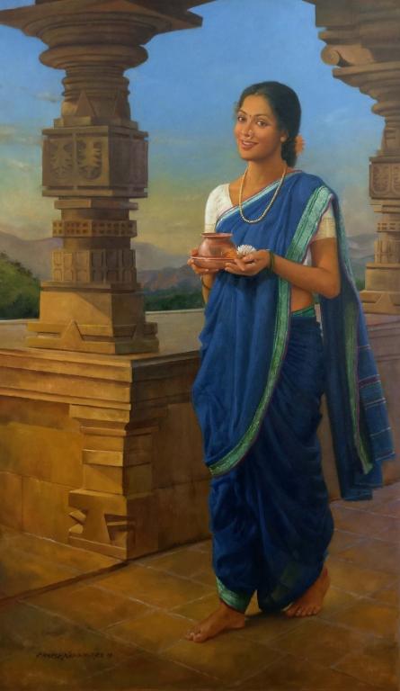 Figurative Oil Art Painting title 'Arpan' by artist Ramesh Nanware