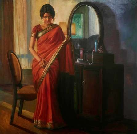 Figurative Oil Art Painting title Getting Ready by artist Ramesh Nanware