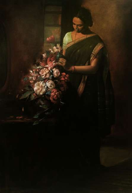 Figurative Oil Art Painting title 'Lady With Flower' by artist Ramesh Nanware