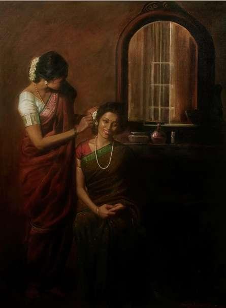 Figurative Oil Art Painting title 'Shringar' by artist Ramesh Nanware