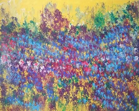 Impressionist Acrylic Art Painting title 'Flowers of Heaven VII' by artist Kaukab Ahmad