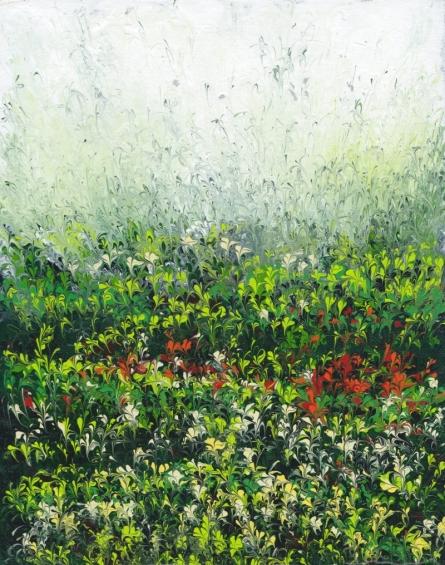 Impressionist Acrylic Art Painting title Morning Field by artist Kaukab Ahmad