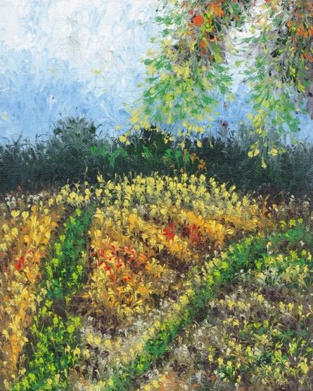 Impressionist Acrylic Art Painting title 'Grassland' by artist Kaukab Ahmad