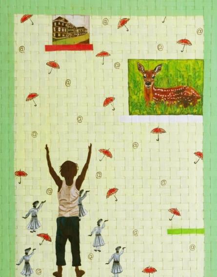 Green Ribbon 3 | Painting by artist Riddhima Sharraf | acrylic-oil | Canvas