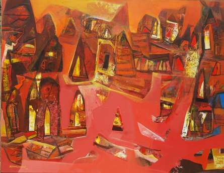 Abstract Acrylic Art Painting title 'Varanasi 1' by artist Tapas Ghosal