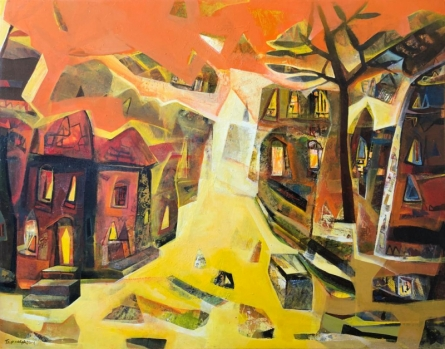 Cityscape Acrylic Art Painting title 'Untitled 2' by artist Tapas Ghosal