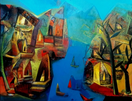 Abstract Acrylic Art Painting title 'Varanasi 3' by artist Tapas Ghosal